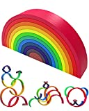 QNINE Juego de 12 piezas de madera de arco iris, clásico de Montessori abierto, ideal para aprender colores y equilibrar y estimular la imaginación