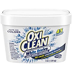 One 3 lb. box of OxiClean White Revive Laundry Whitener + Stain Remover Works with detergent to remove stains and brighten and whiten clothing Add to every load of laundry or you can even dissolve in water to pre-soak 40% more whitening power per loa...
