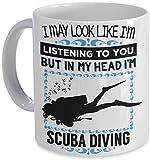 Scuba Diver Coffee Mug - In My Head I'm Scuba Diving! - Diver's Gift Coffee Cup Mug PicksPlace
