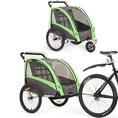 Kinderfahrradanhänger und Kinderwagen 2 in 1 Anhänger Jogger für Kinderfahrradanhänger mit Buggy-Set + Federung BT504S (Grün)