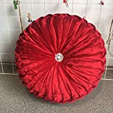Round Throw Pillow Cushion Velvet Pleated Pillow Diamond Filled European Solid Color Pumpkin Plush Floor Pillow Home Decorative for Sofa Bed Living Room Office Chair Couch (Red)