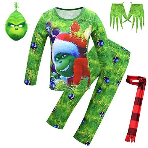 BeeUgy Kind Kinder Grinch Maske Handschuhe Kostüm Overall Weihnachten Grinch Spielzeug Festliche Kostüm Outfit Grün Monster Grinch Kostüm für Mädchen Jungen