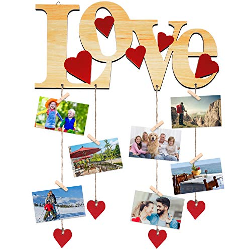 Jetec Love Photo Display Boards Wooden Picture Hanger Frames Love Photo Collage Organizer Hanging Picture Display Frames for Valentine's Day Wall Decorations