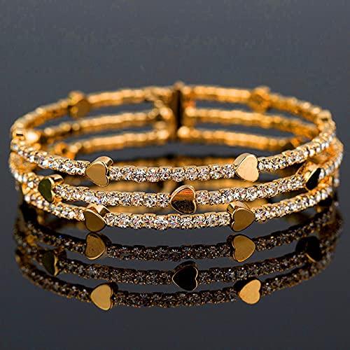 SONGK Bonito Brazalete de Diamantes de imitación de Cristal para Mujer, brazaletes de corazón de Oro Amarillo Grande, brazaletes para Mujeres, Regalos Vintage Retro para el Día de San Valentín