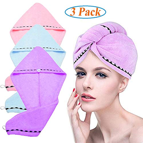 LayYun Hair Drying Towels, Fast Drying Hair Cap, Long Hair Wrap,Super Absorbent Twist Turban,Microfiber Bath Shower Hair Towel Twist with Buttons (Blue+Pink+Purple-3 Pack)