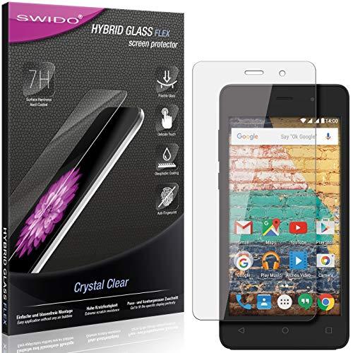 SWIDO Panzerglas Schutzfolie kompatibel mit Archos 45b Neon Bildschirmschutz-Folie & Glas = biegsames HYBRIDGLAS, splitterfrei, Anti-Fingerprint KLAR - HD-Clear