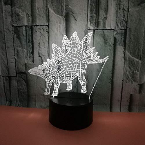 BFMBCHDJ Neue 3D Dinosaurier Leuchte Stegosaurus Bunte 3D Leuchte Kreative Touch Desktop Bunte Tischleuchte LED 3D Leuchte A2 Weiße Rissbasis