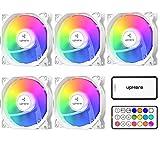 upHere - Ventola LED RGB per case PC, ultra calma, 5 pezzi, con telecomando/C806-5