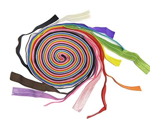 HipGirl Fold Over Elastic,FOE Elastic for Masks;Mask Elastic Bands;Elastic Bands for Sewing 5/8 Inch (Rainbow, 12 x 1yd)
