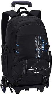 ZLSANVD Six-Wheeled Trolley Bag - Youth Burden Six-Wheeled Trolley Bag Student Rolling Backpack Unisex Trolley Bag (Color : Blue)