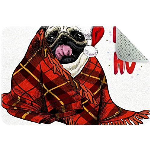LORVIES Weihnachts-Mops-Hund mit Weihnachtsmütze und karierter Decke, Teppich, rutschfest, Fußmatte für Wohnzimmer, Schlafzimmer, 61 x 40,6 cm, Polyester, multi, 80x50xm/31x20in