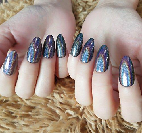 YUNAI Stilett Falscher Nagel Laser-Effekt Regenbogen Schwarz Lange falsche Nägel Künstliche Nägel