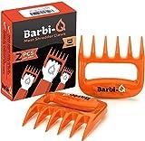 Barbi-Q Par de Garras de Carne para Barbacoa Parrilla Ahumador | Tenedores para Carne Ahumado | Trituradora Garras de Oso para Cerdo Tirado (Naranja)