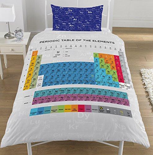 Bettbezug-Set für Einzel-/Doppelbett, Wendebettwäsche, Motiv: Periodensystem., 50 % Baumwolle / 50 % Polyester, Bettbezug Einzelbett