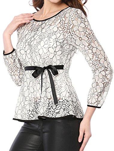 Allegra K Damen Langarm Bindegürtel Panel Spitze Peplum Top Bluse Weiß M