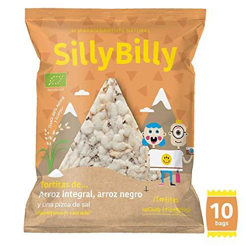 SillyBilly - Snack ecológico - Pack 10 bolsitas - Chips de Tortitas de arroz integral y arroz negro en forma de nachos - Almuerzos y meriendas - Para picar entre horas…