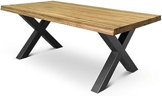 comprar comparacion COMIFORT Mesa de Comedor - Mueble para Salon Oficina Despacho Robusto y Moderno de Roble Macizo Color Ahumado con Lado Ond...