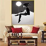 Cartel nórdico Globo Blanco y Negro Mujer niña Pared Arte Lienzo impresión Cartel decoración del hogar Pintura Moderna sin Marco 40X50 cm