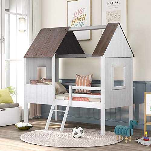 House Bed Loft Bed Twin Size, Low Loft Bed with Roof and Ladders, Solid Wood, No Box Spring Needed (Antique White (with Ladder))