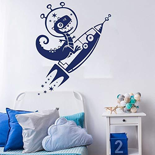 Dibujos animados dinosaurio cohete calcomanía Dino espacio estrella pared calcomanía pegatina niños dormitorio sala de estar decoración de pared A8 43x56cm