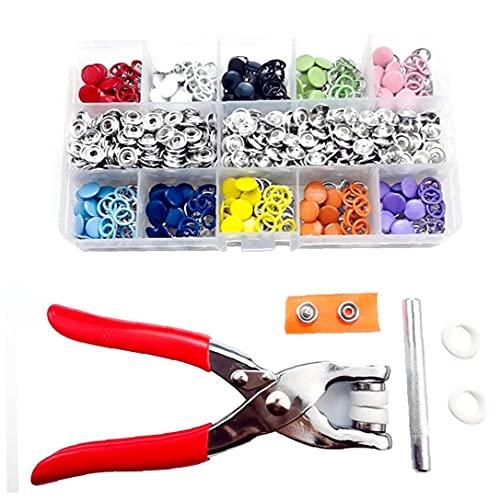 Prong Snap Botones Press Kit Snaps Grommets sujetadores determinado del metal con unos alicates para coser ropa de bricolaje de reparación 200PCS de colores, botones de presión púa