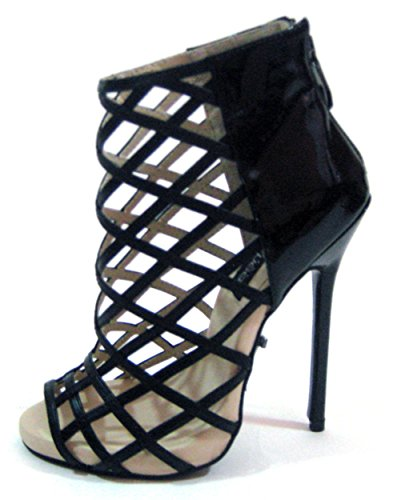 The Highest Heel Unisex Sultry Series 51 5' Stiletto Heel Caged Bootie Fashion Boot, Black Patent, 8 US Women