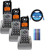 Motorola ML1200 DECT 6.0 Expandable 4-Line Cordless Handsets with Digital Receptionist and Voicemail (3-Pack) Bundle with Blucoil 10-FT 1 Gbps Cat5e Cable, and Reusable Cable Ties (5-Pack)