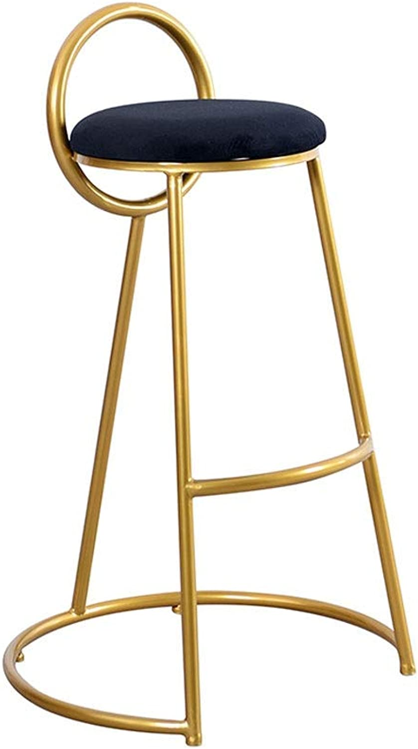 Metal Bar Chair Back Kitchen Bar High Stool gold Metal Legs   Casual Padded Dining Chair   Maximum Load 200 Kg - Pink Green Black (color   Black, Size   65CM)