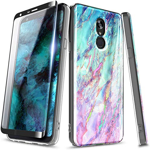 E-Began Case for LG K40, LG Solo 4G LTE L423DL/K12 Plus/X4 2019/Xpression Plus 2 (AT&T)/Harmony 3 with Tempered Glass Screen Protector, Ultra Slim Glossy Stylish Protective Marble Design Case -Nova