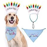 Bandana de cumpleaños para perro EXPAWLORER con diadema de vela de cumpleaños – Set de decoraciones de regalo de cumpleaños para mascotas, bufanda suave y adorable sombrero para accesorio de fiesta
