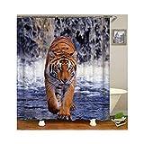 AmDxD Duschvorhang aus Polyester| 3D-Druck Tiger Muster Design Bad Vorhang Badewannenvorhang | Braun Gelb | mit 12 Duschvorhangringen für Badewanne Badezimmer - 90x180CM