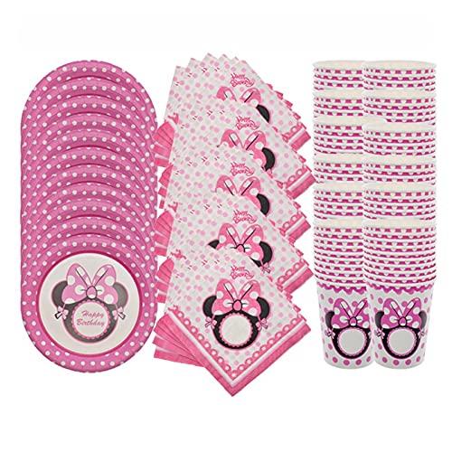 Jjwlkeji Vajilla De Fiesta 60 unids Rosa Papel Placa Tazas servilletas Toallas Feliz cumpleaños Fiestas Suministros niñas ratón bebé Baby Boda Boda decoración del hogar (Color : 20cup20plate20towel)