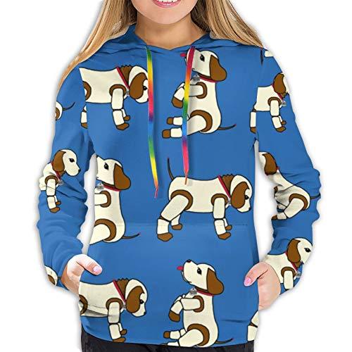 fenrris65 Robo Puppy Rows Blue by Victorialasher Women 3D Realistic Digital Print Pullover Hoodie Hooded Sweatshirt 2XL