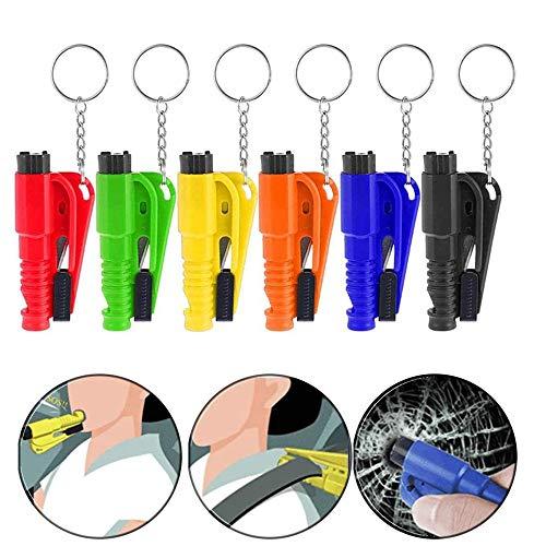 Timess 6 Stück Autosicherheitshammer 3 in 1Gurtschneider Notfallhammer Pfeife Schlüsselanhänger Multifunktional Notfallhammer Auto Rettungshammer Auto Leben Schlüsselbund (6PCS)