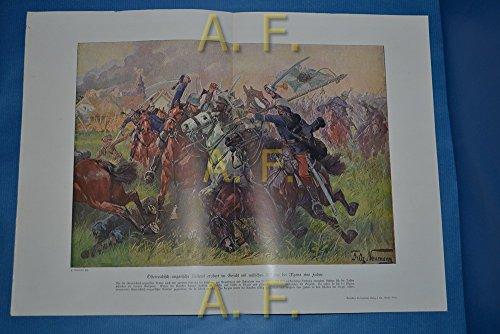 Österreich-ungarische Reiterei erobert im Gefecht mit russischen Kosaken bei Mzana eine Fahne. // Druck aus: Illustrierte Geschichte des Weltkrieges.