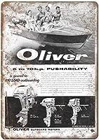 オリバー船外機モーターボート壁金属ポスターレトロプラーク警告ブリキサインヴィンテージ鉄絵画装飾オフィスの寝室のリビングルームクラブのための面白いハンギングクラフト