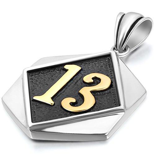 JewelryWe Schmuck Edelstahl Glückszahl 13 Sechseck Tag Anhänger mit 55cm Kette, Halskette für Damen und Herren, Gold Schwarz Silber