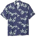 Amazon Brand - 28 Palms Men's Standard-Fit Vintage Washed 100% Rayon Tropical Hawaiian Shirt, Navy/Light Green Floral, X-Large