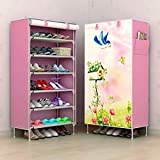 AYSIS Multipurpose Portable Folding Shoes Rack 6 Tiers Storage Organizer Cabinet Tower with Iron and...