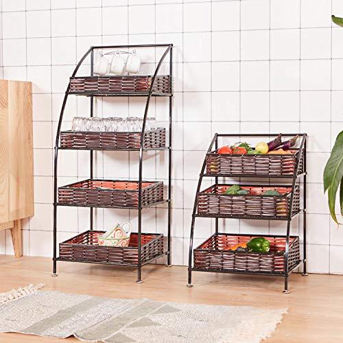 Cestas de almacenamiento de cocina,gran tejido artificial de cesta de ratán,estante multifuncional para frutas y verduras,organizador de almacenamiento de frutas,para el dormitorio de baño de oficina