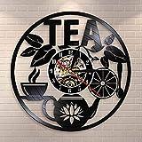 BFMBCHDJ Heure du thé décoration Murale Pot de thé Conception Horloge Murale Boisson thé Vinyle Disque LP Horloge décorative Pendaison Montre Amateurs de thé Chambre décor