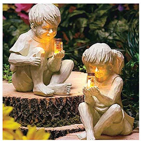 Gartendeko Figuren, Garten Figuren Lichter, Gartendekor Figuren mit Leuchte, Solar Glühwürmchen Garten Statue Harz Statue, Wunderliche Blumenbeet Yard Outdoor Skulptur Dekor, Einzigartiges Geschenk