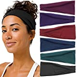 Yoga Headbands for Women Bandeau Knotted Cotton Thick Stretchy Elastic Turban Running Headbands Sports Workout Hair Bands for Girls Pack of 6