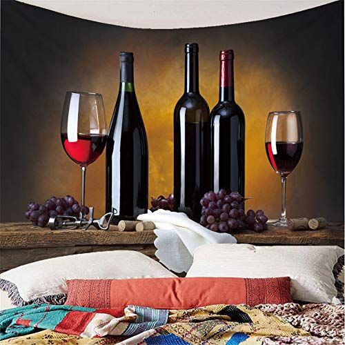 H/A Tapestry Create Red Wine Grape Fruit Hippie Mandala Boho Tablecloth Picnic Tablecloth Mural Wall Covering Decoration Single Multicolor 215 R 150X200Cm