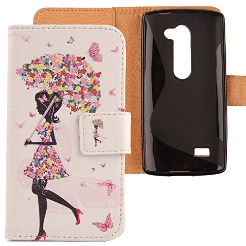 Lankashi PU Flip Leder Tasche Hülle Hülle Cover Schutz Handy Etui Skin Für LG Leon 4G LTE H340N C50 / Optimus Leon C40 Umbrella Girl Design