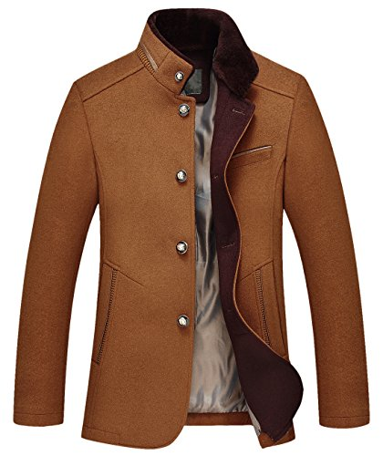 chouyatou Men's Gentle Band Collar Single Breasted Wool Blend Pea Coat (10Brown, Medium)