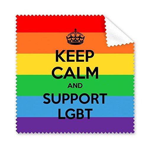 Arco iris Gay lésbico LGBT transgénero bisexuals apoyo mantener la calma y apoyo bandera ilustración gafas paño de limpieza paño móvil limpiador de pantalla, 5unidades