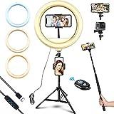 Aktualisiert LED Ringlicht mit Stativ & Handyhalter, 12' Selfie Ringleuchte mit 3 Beleuchtungsmodi und 10 Helligkeitsstufen for Tiktok/Make-up/Live-Streaming/Fotografie (Bluetooth-Fernbedienung)