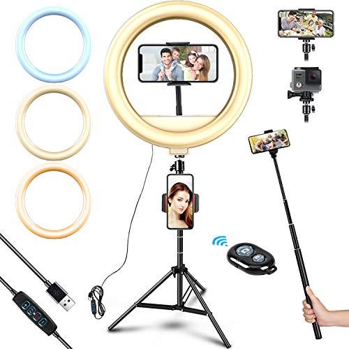 Anillo de luz para selfie de 12 pulgadas con 3 modos de color, anillo de luz LED con trípode, regulable USB con mando a distancia por Bluetooth para fotografía, transmisión en directo, YouTube, Vlog