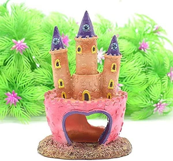 Topfire Pink Princess Castle Fish Cave Aquarium Ornament Fish Tank Decoration